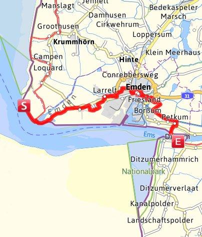 Kartenausschnitt Ditzum Emden